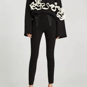 Zara Denim Studded Jeggings Skinny Black